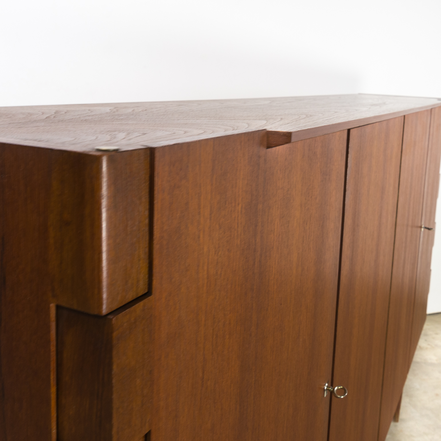 60s Very Rare Teak High Sideboard With Hinge Joints Barbmama