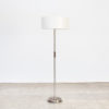 80s Beautiful swing arm metal, leather and wooden floorlamp