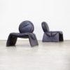 70s Set of two leather 'calipso c35' design fauteuils attr Saporiti set/2