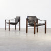 70s Maurice Burke 'chelsea' black leather fauteuil / safari chair for Pozza set/2