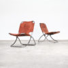60s chrome framed and leather folding chair set/2