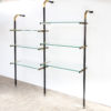 70s Luxury metal, brass and glass wall unit
